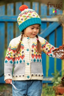 Frugi Organic Cotton Chunky Knitted Fairisle Pattern Kids Cardigan