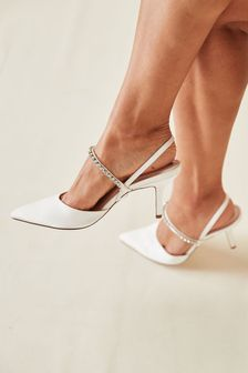 Bridal Satin Jewel Slingback Shoes
