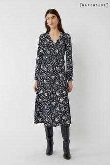 Warehouse Black Sprig Floral Ruffle Midi Dress