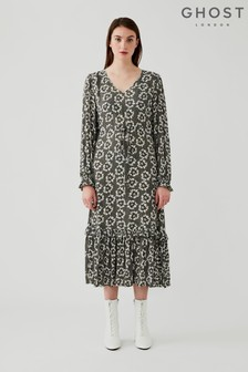 Ghost Green Isla Floral Dots Print Crepe Dress