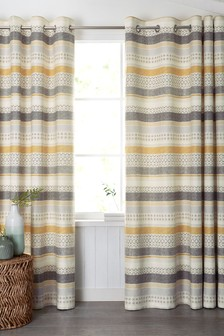Geometric Stripe Eyelet Curtains