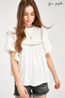 Free People White Broderie Blouse