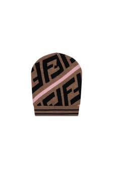 Girls Brown/Pink Wool Logo Hat