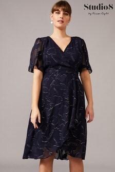 Studio 8 Blue Polly Foil Jacquard Dress