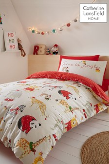 Jungle Bells Christmas Duvet Cover and Pillowcase Set by Catherine Lansfield