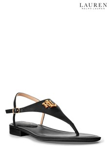 Lauren Ralph Lauren Leather Monogram Logo Ellington Flat Sandals