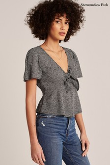 Abercrombie & Fitch Black Ditsy Tie Blouse
