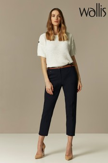 Wallis Blue Double Faced Belted Cigarette Trousers