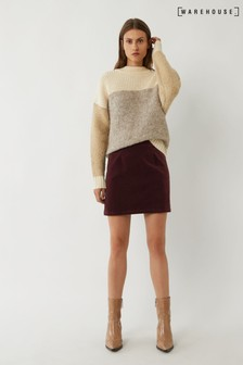 Warehouse Purple Velvet Pelmet Mini Skirt