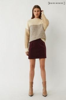 Warehouse Purple Velvet Pelmet Mini Skirt
