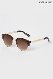 River Island Brown Print Chain Arm Clubmaster Grad Lens Sunglasses