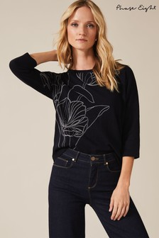 Phase Eight Blue Emmy Embroidered Flower Jumper