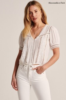 Abercrombie & Fitch White Cut Out Blouse