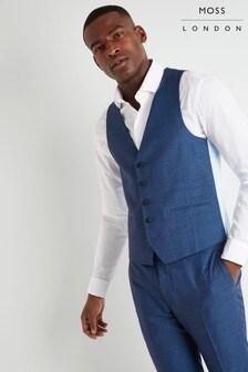 Moss London Slim Fit Teal Slub Waistcoat