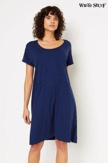 White Stuff Blue Stripe Jersey Dress