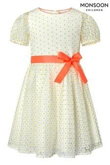 Monsoon White Daisy Puff Sleeve Dress
