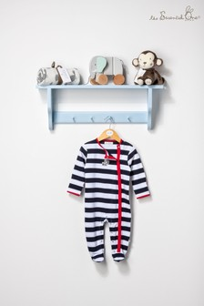 The Essential Ones Baby Boys White/Navy Large Stripe Sleepsuit