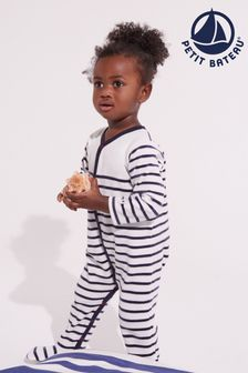Petit Bateau Navy And White Stripe Sleepsuit