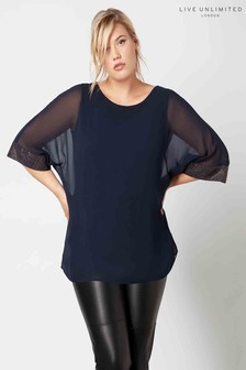 Live Unlimited Navy Dolman Sleeve Blouse