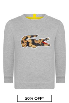 Boys Cotton Grey Crew Neck Leopard Crocodile Sweatshirt