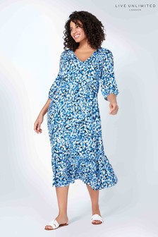 Live Unlimited Blue Non Print V-Neck Tiered Dress