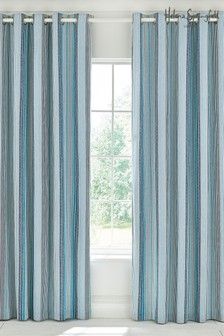 Helena Springfield Burton Stripe Lined Eyelet Curtains