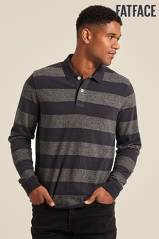 FatFace Grey Ashby Stripe Polo