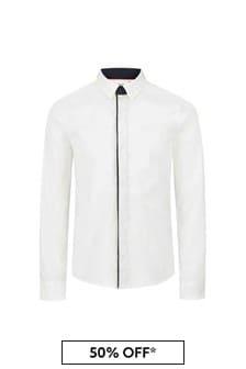 BOSS Boys White Cotton Shirt