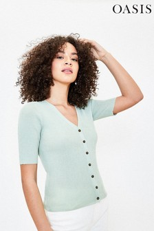 Oasis Green Ribbed Cardigan