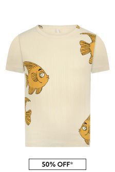 Kids Ivory Fish Print T-Shirt