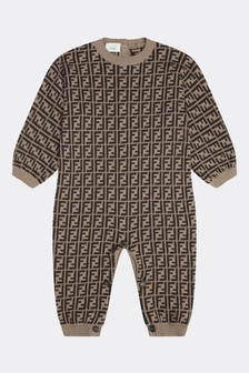 Baby Brown Cotton & Cashmere Logo Coverall