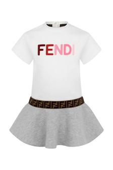 Fendi Kids Baby Girls White/Grey Cotton Logo Dress