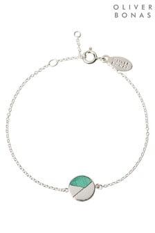 Oliver Bonas Orson Stone Circle Segment Sterling Silver Bracelet