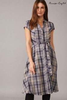 Phase Eight Blue Willa Check Linen Dress