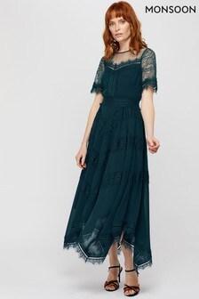 Monsoon Teal Melissa Lace Chevron Hanky Dress