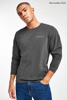 Abercrombie & Fitch Black Chest Logo Long Sleeved T-Shirt