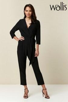 Wallis Petite Black Wrap Jumpsuit
