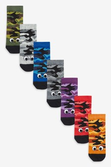 7 Pack Glow In The Dark Camouflage Socks (Younger)
