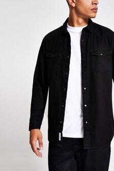 River Island Black Western Denim Shirt