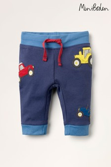 Mini Boden Blue Appliqué Patch Jersey Bottoms