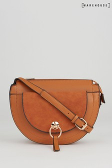 Warehouse Tan Suede Half Moon Crossbody Bag