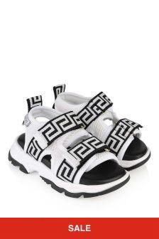 White & Black Mesh Sandals