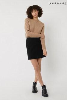 Warehouse Black Denim A-Line Mini Skirt