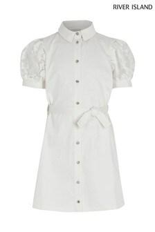 River Island White Puff Sleeve Shirt Dress