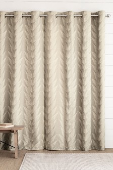 Linear Leaf Jacquard Eyelet Lined Curtains