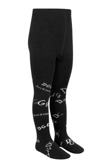 Girls Black Lettering Tights