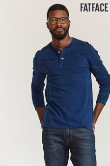 FatFace Blue Indigo Henley T-Shirt