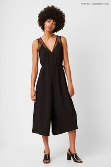 French Connection Black Angie Lace Mix Belted Jumpsuit