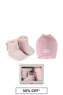 Pink Jesse Bow Booties & Beanie Hat Gift Set