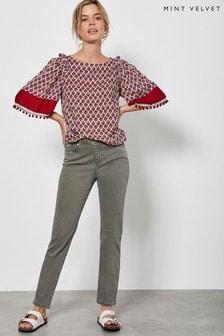 Mint Velvet Khaki Houston Zip Crop Jeans